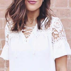 Express Lace-Up Top with Lace Details